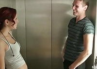 Riskant Fuck in Public Elevator for German Teen Natalie Hot